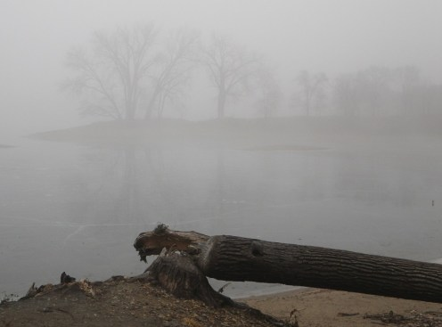 Morning fog and ice on lake. (c) 2104 J.S. Reinitz
